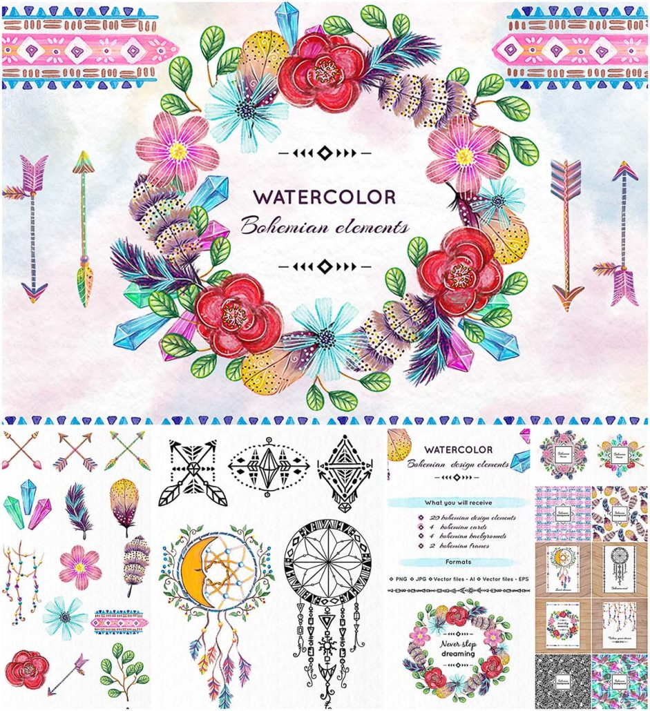 Abstract Social Media Watercolor Icons Set: Bohemian Clipart Elements Bundle