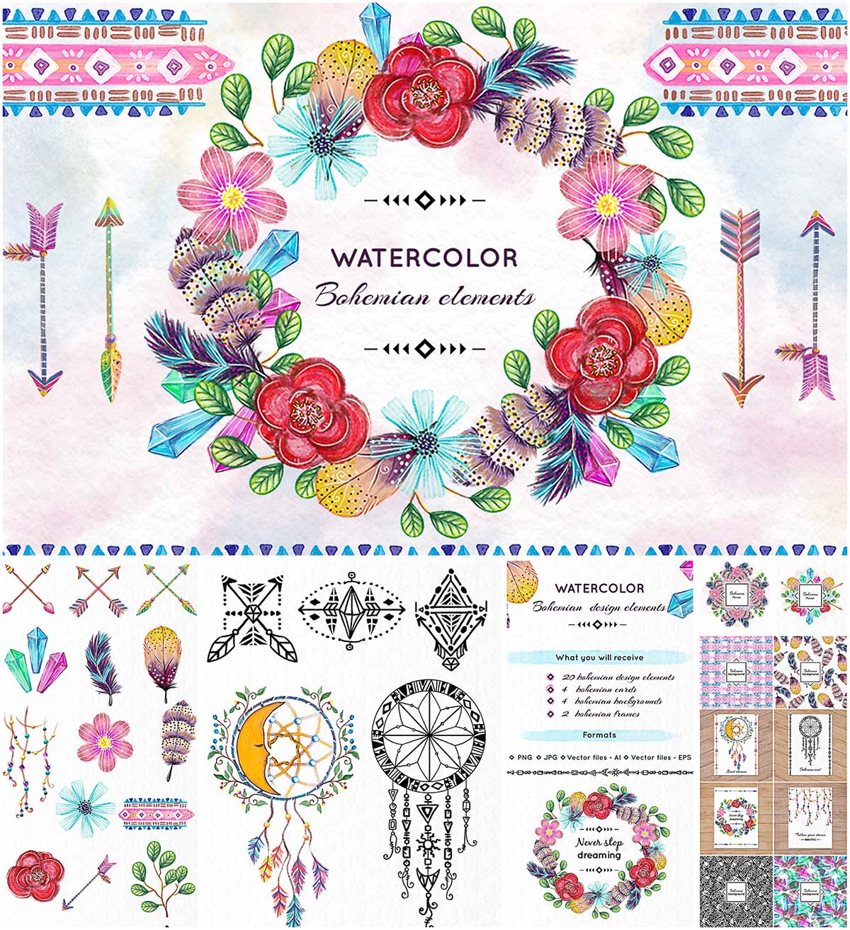 Bohemian clip art elements collection