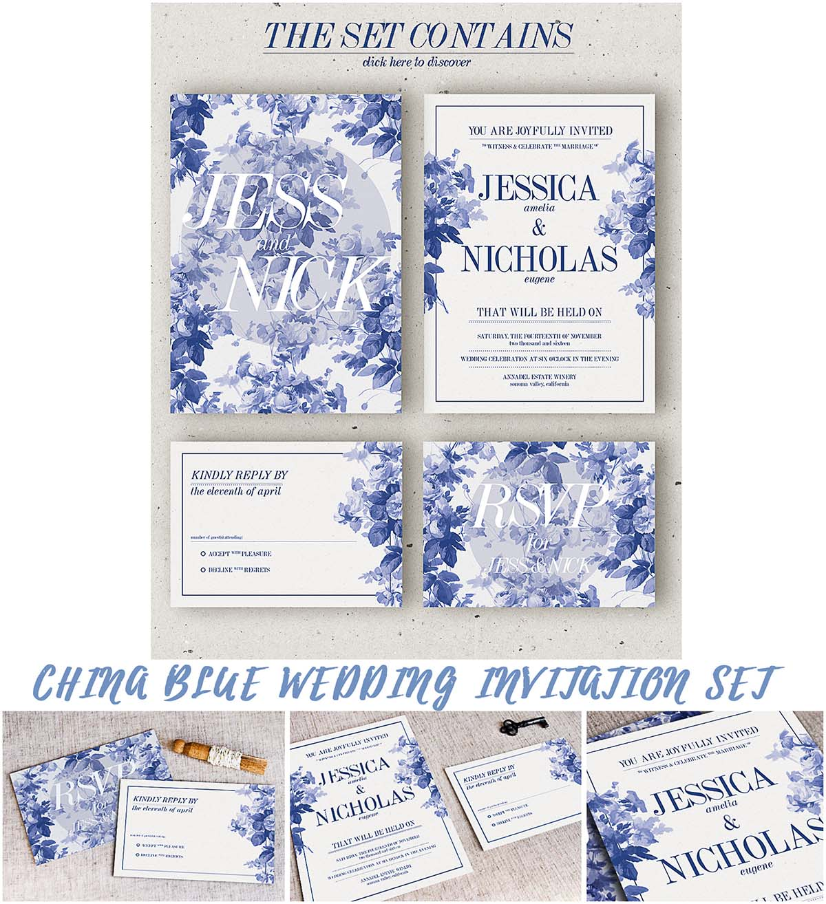 Floral china blue wedding invitation set