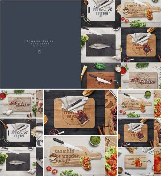 Cutting board mockup set