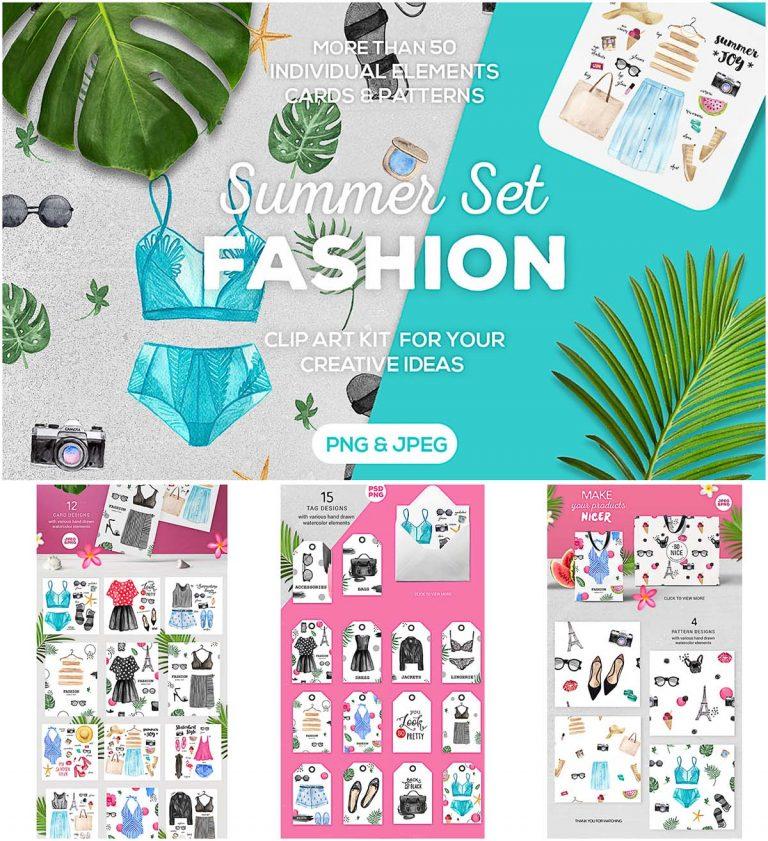 Fashion watercolor illustrations big bundle