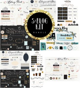 Bundle blog kit with girly buttons
