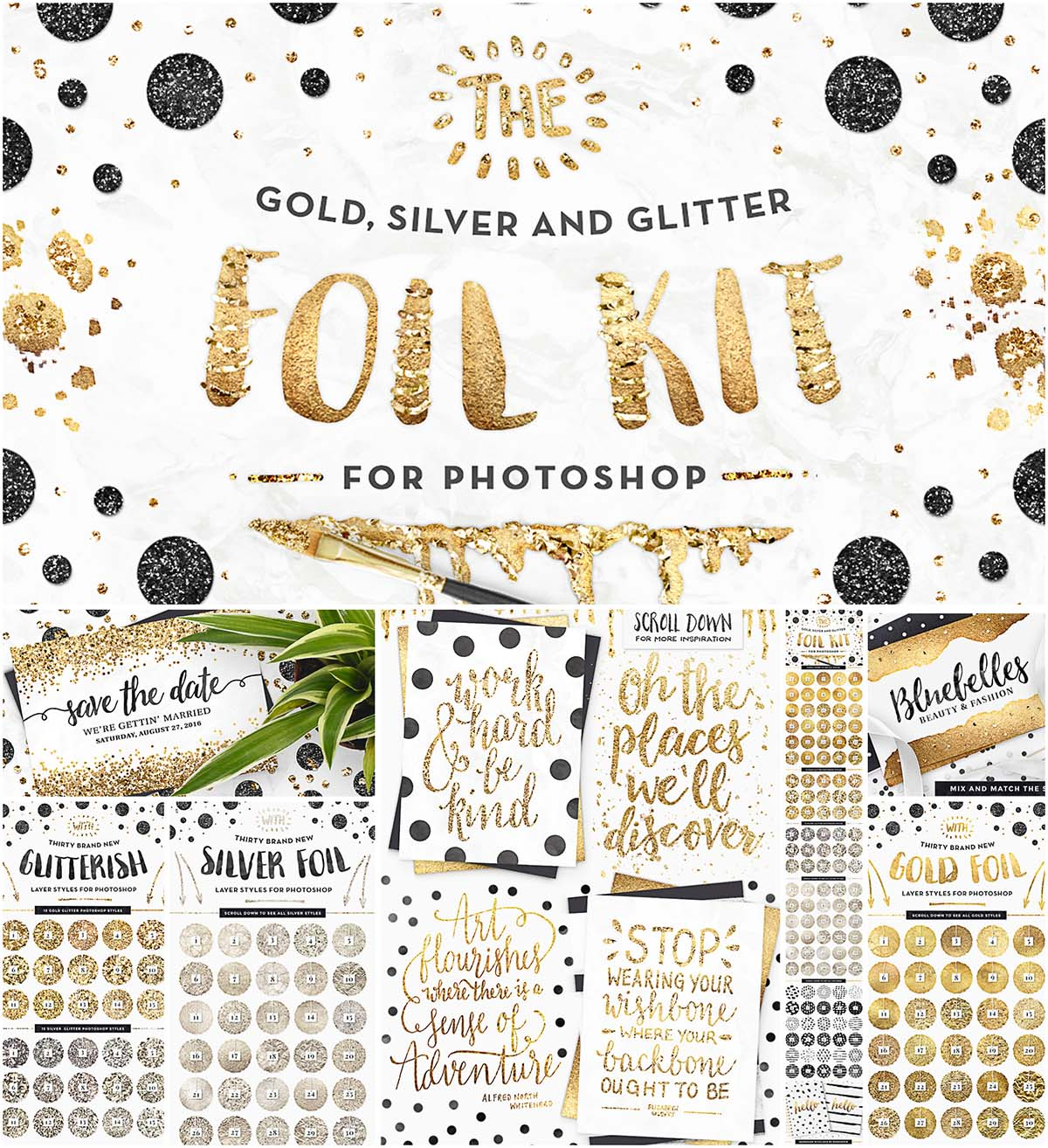 Gold foil kit essentials with patterns | Free download