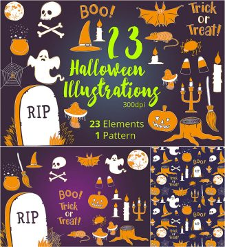Haloween pattern and illustrations