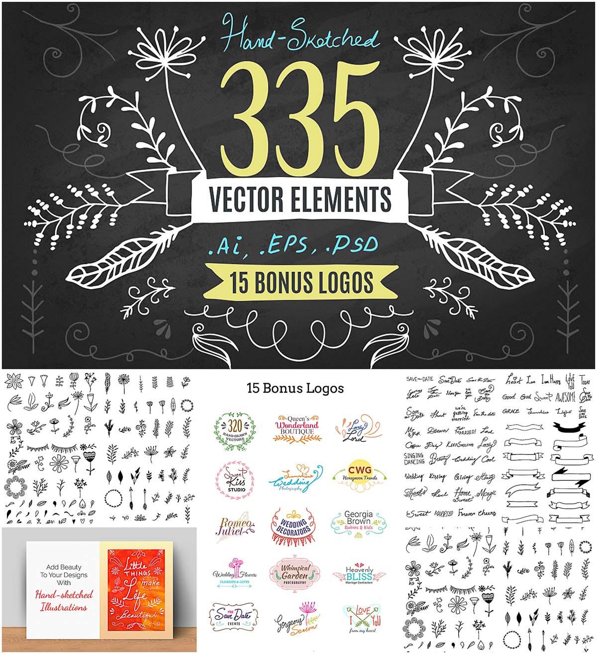 Hand drawn vector kit + 15 logo