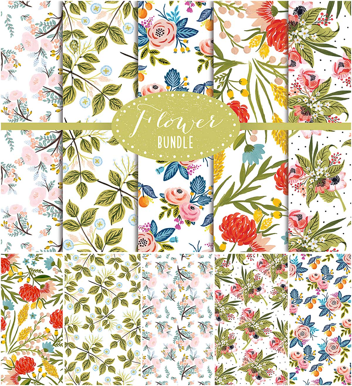 Floral digital papers set
