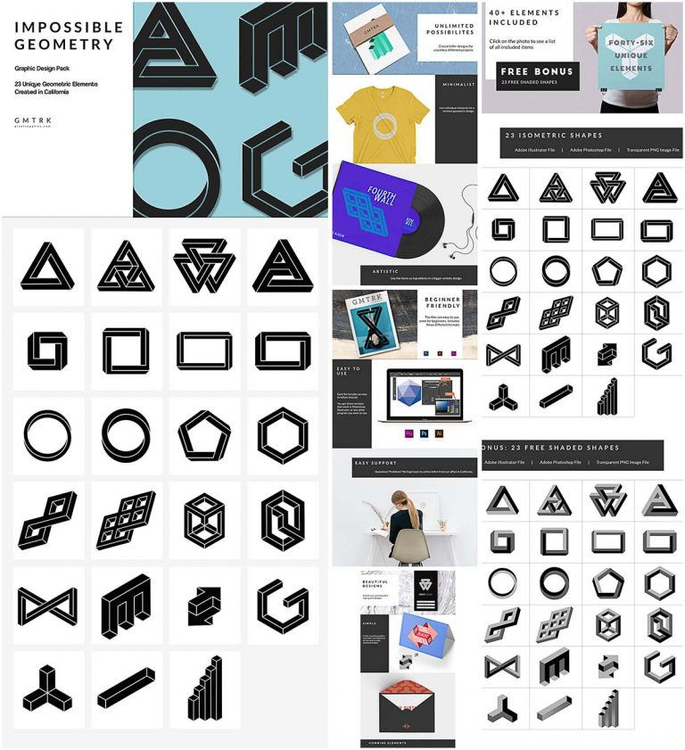 Impossible geometry illustration collection