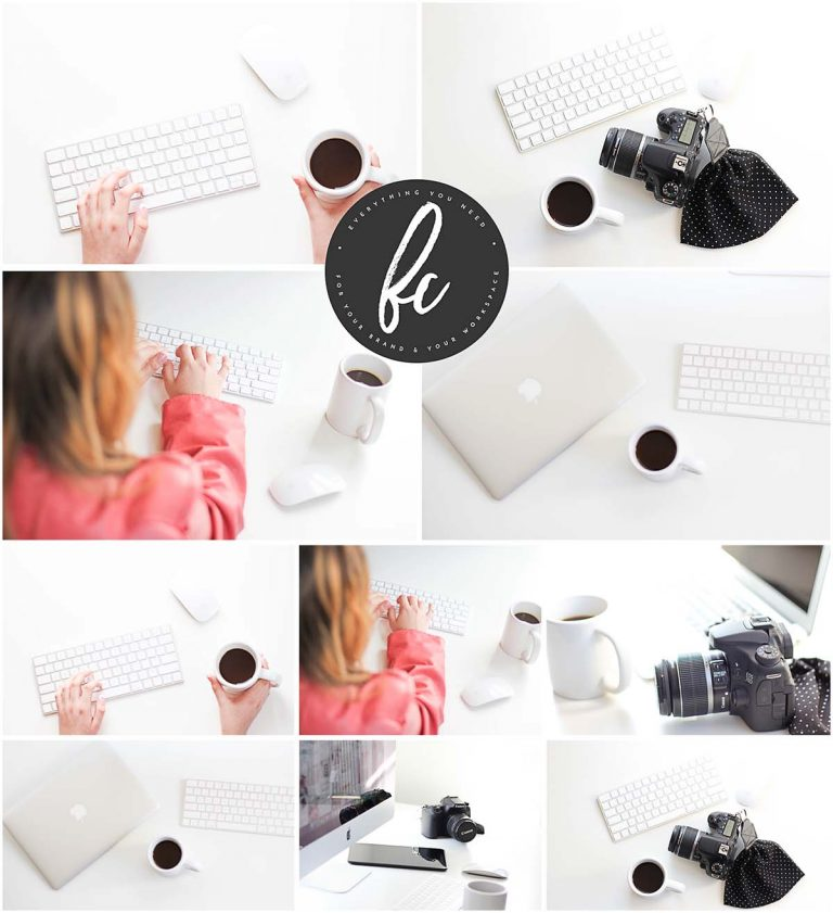 Minimalist desk photo stock set