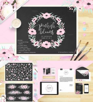 Pink bloom watercolor clipart and textures set