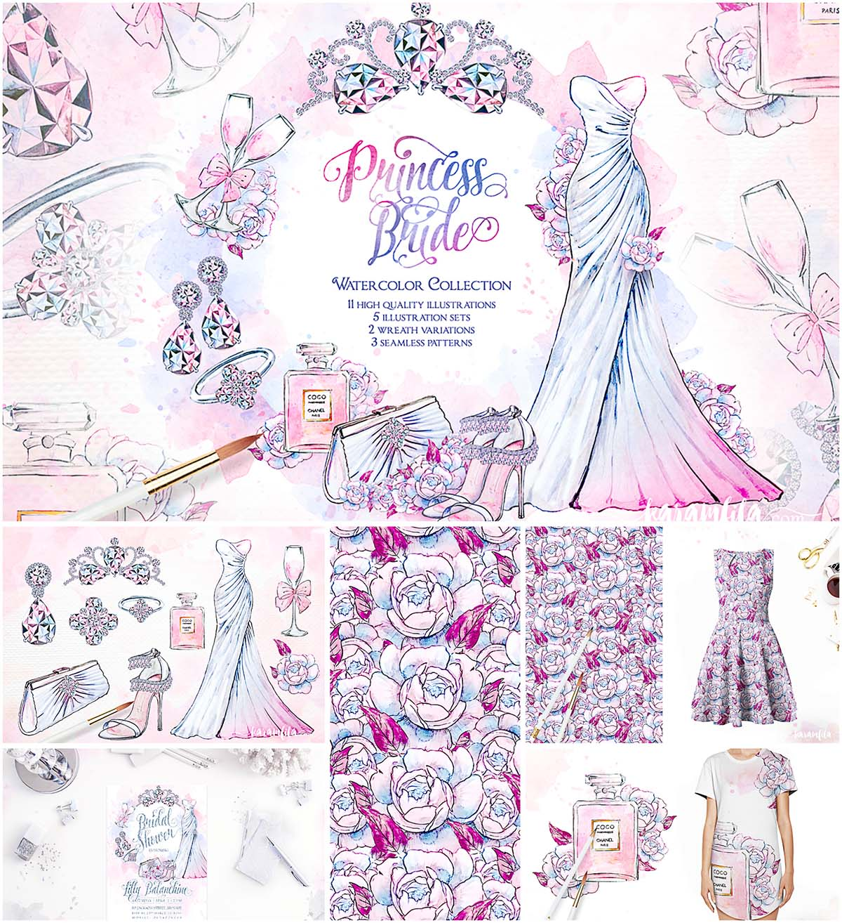 Princess Bride wedding illustrations set