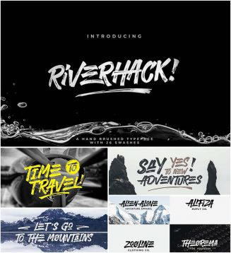 Riverhack brush font with cyrillic