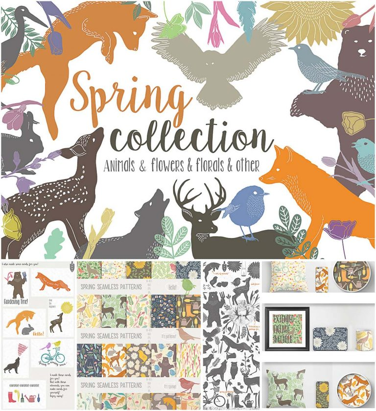 Lovely spring illustration collection