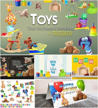 Toys mock up scene creator set