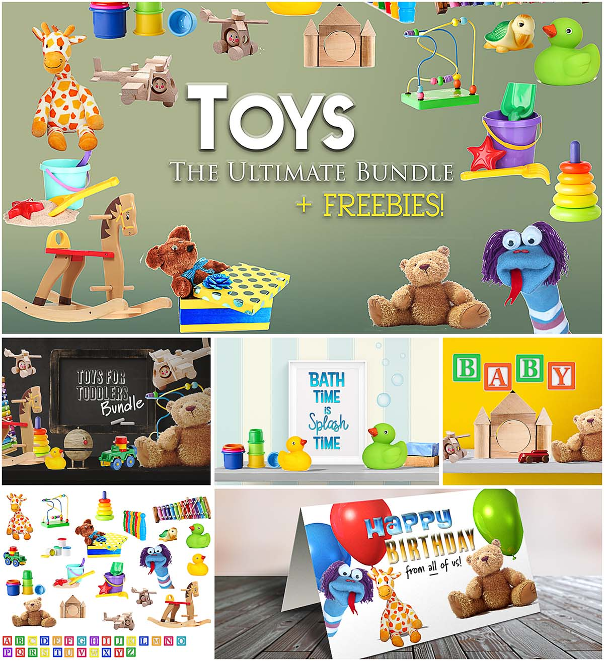 Toys mock up scene creator set