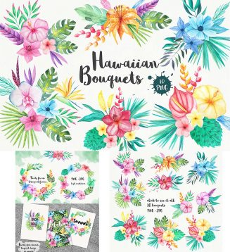 Tropical flowers watercolor illustrations set