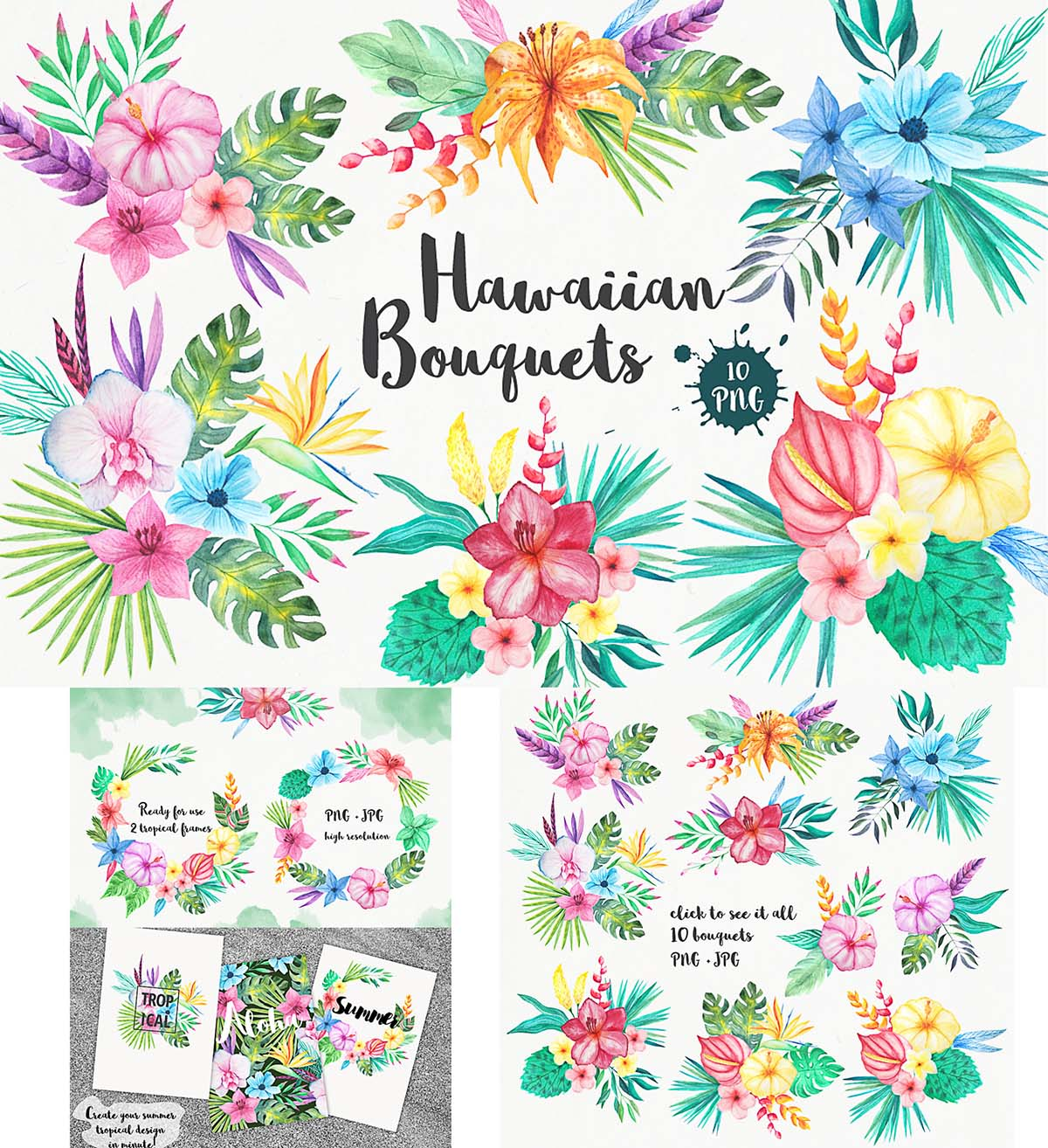 Tropical flowers watercolor illustrations set