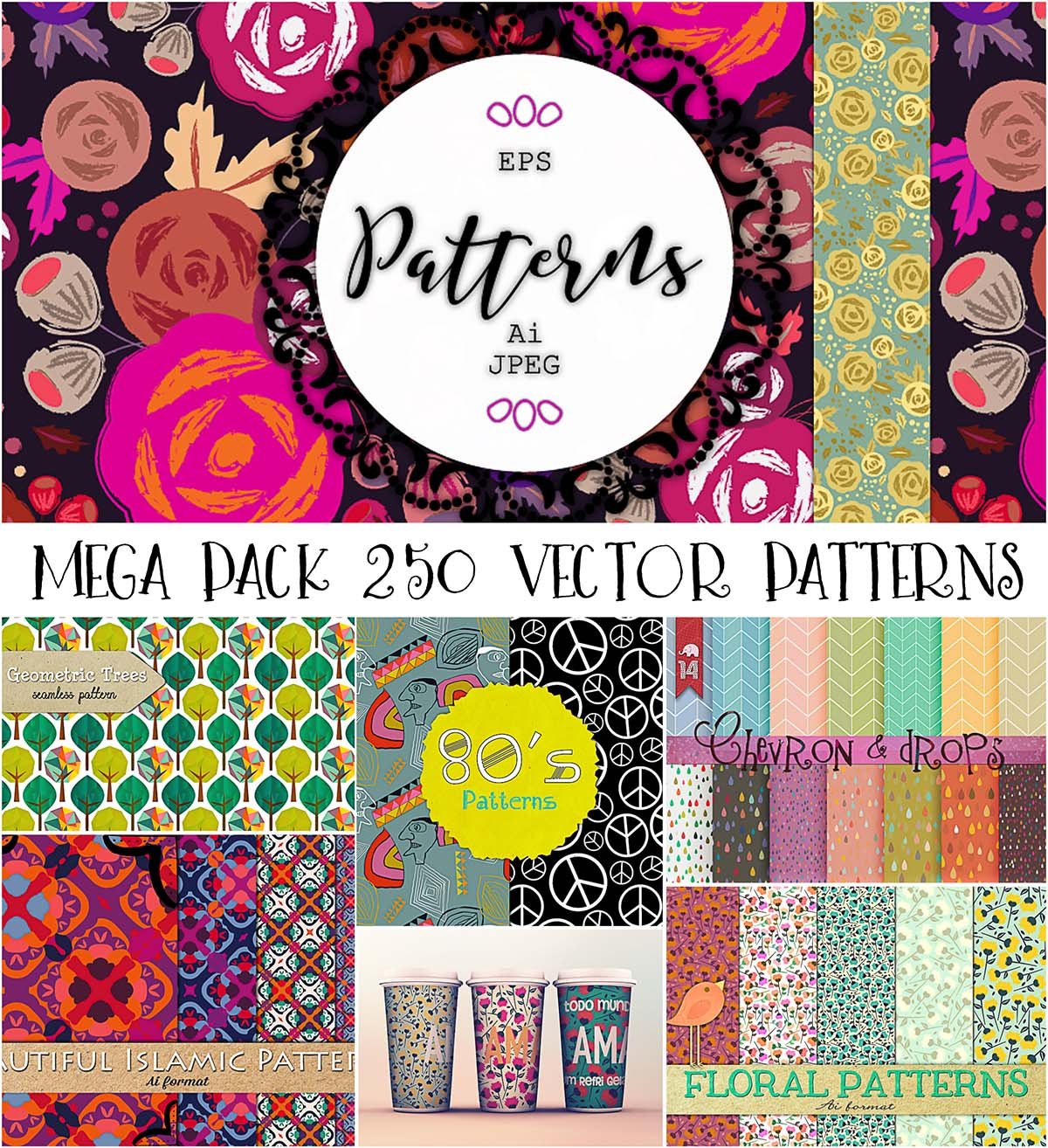Seamless patterns 250 bundle
