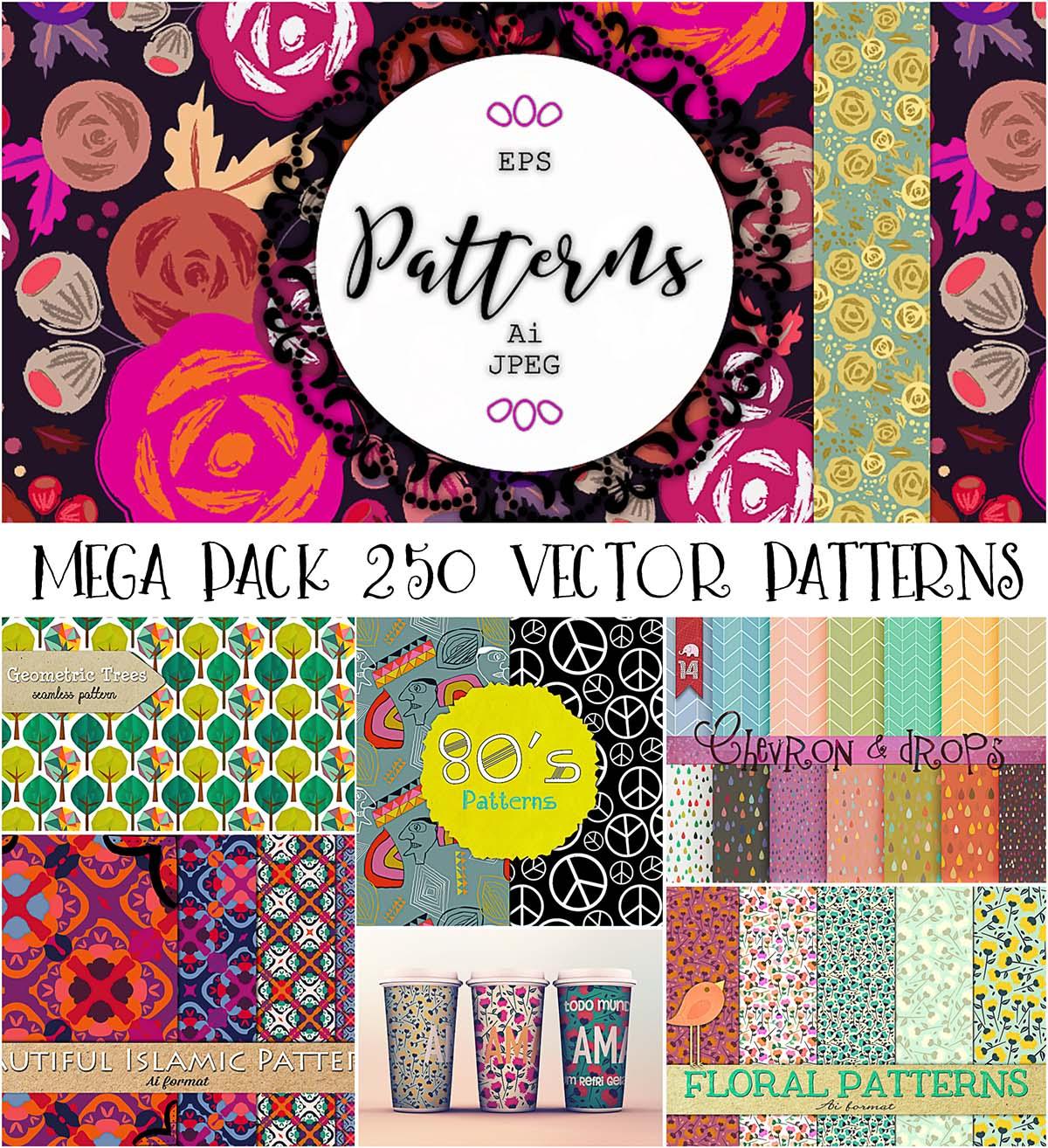 Seamless patterns 250 bundle