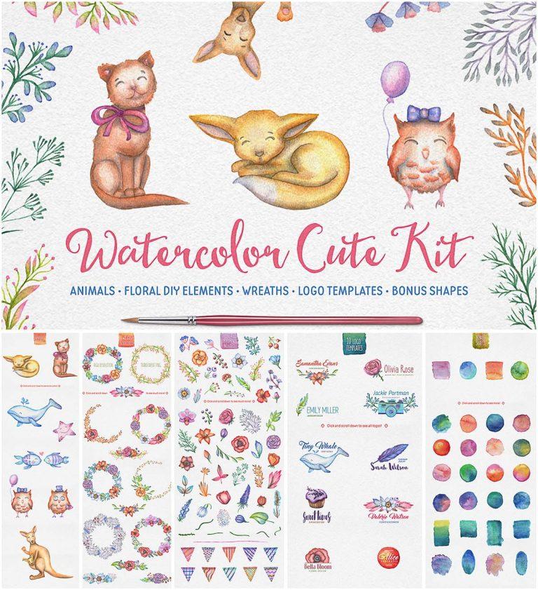 Cute watercolor kit