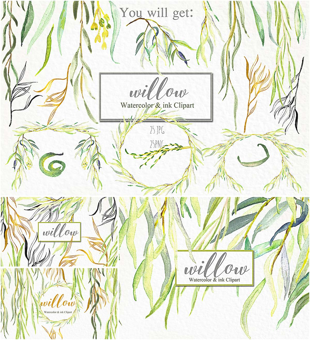 Willow watercolor branches and wreaths set