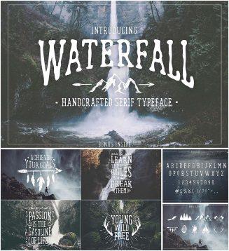 waterfall handwritten font with bonus