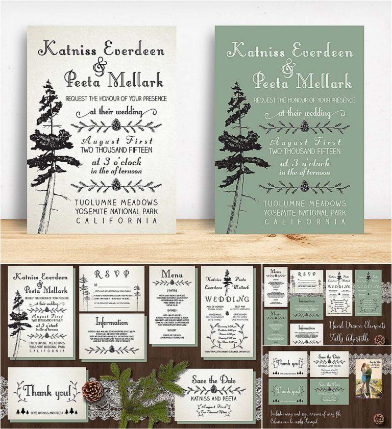 Pine tree Wedding invitation suite