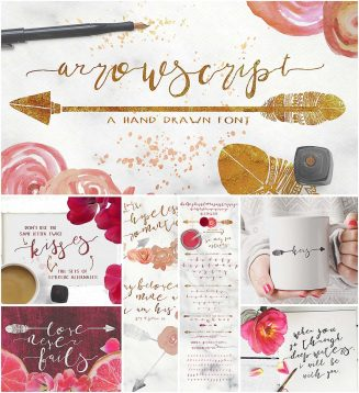 ArrowScript font with watercolor flowers