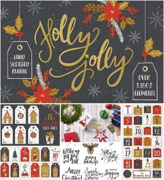 Christmas illustrations bundle