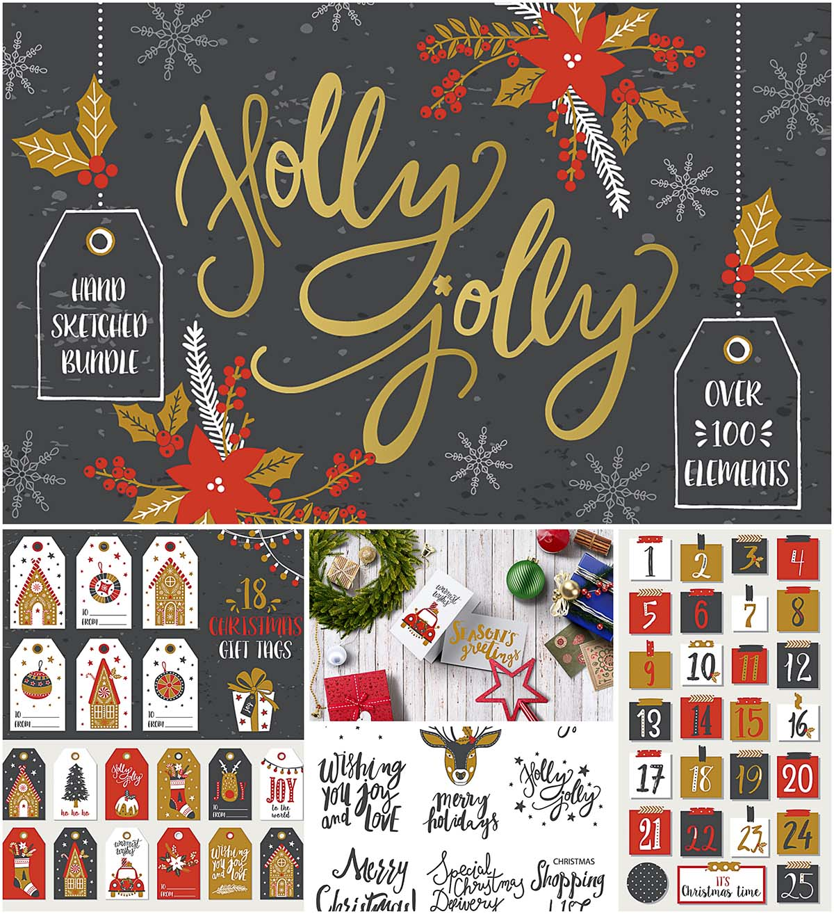 Christmas illustrations bundle