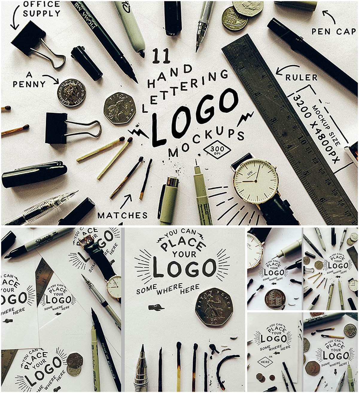 Hand lettering branding mockups