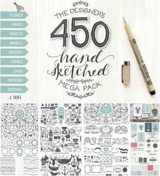 Designers hand scetched vector pack