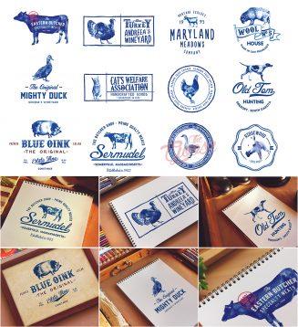 Handpainted animals logo set
