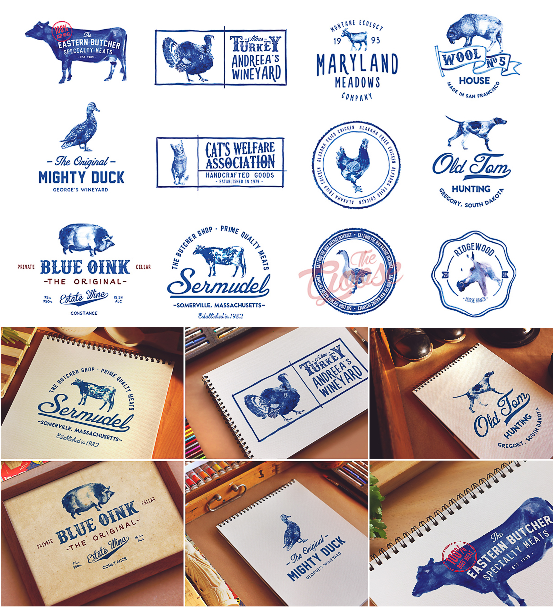 Handpainted animals logo set