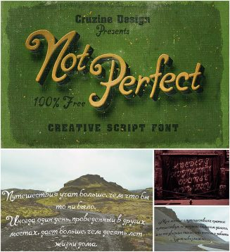 Notperfect script font with cyrillic typeface