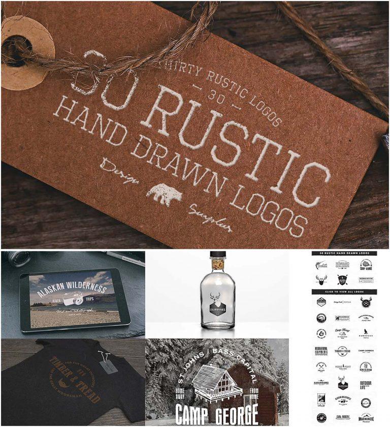 Rustic hand drawn logotype set