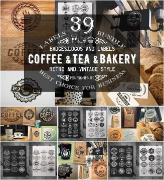 Coffee tea and bakery logo collection