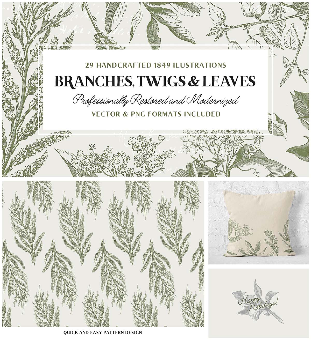 Vintage branches and leaves set