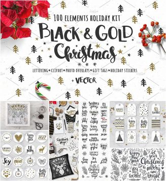 Black gold Christmas vector set
