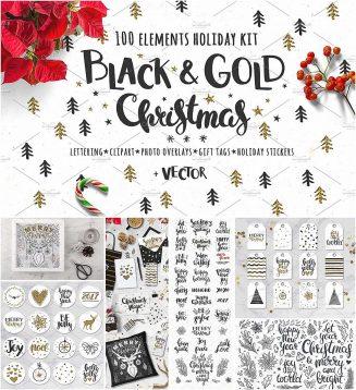 Black gold Christmas vector set