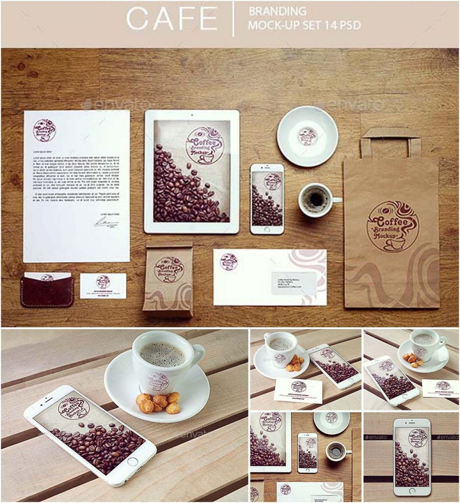 cafe branding mockup set