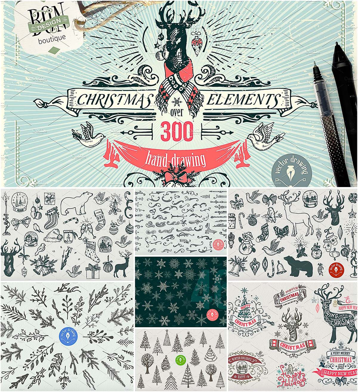 Christmas elements designers bundle
