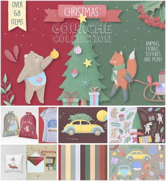 Christmas gouache illustration set