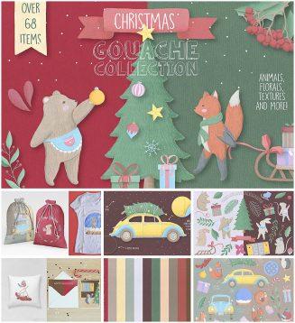 Christmas gouache illustration set