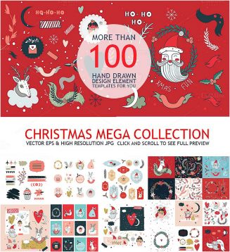Christmas mega collection hand drawn clipart
