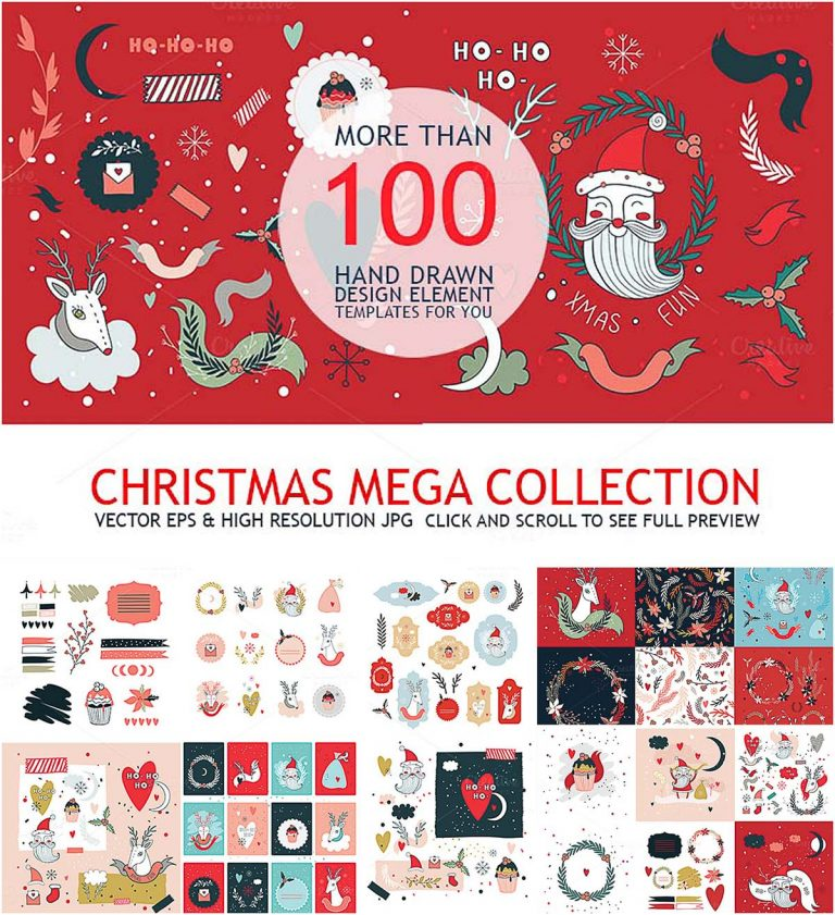 Christmas mega collection hand drawn clipart