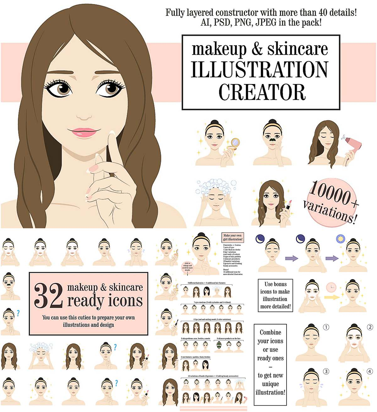 Makeup and skincare illustrations creator