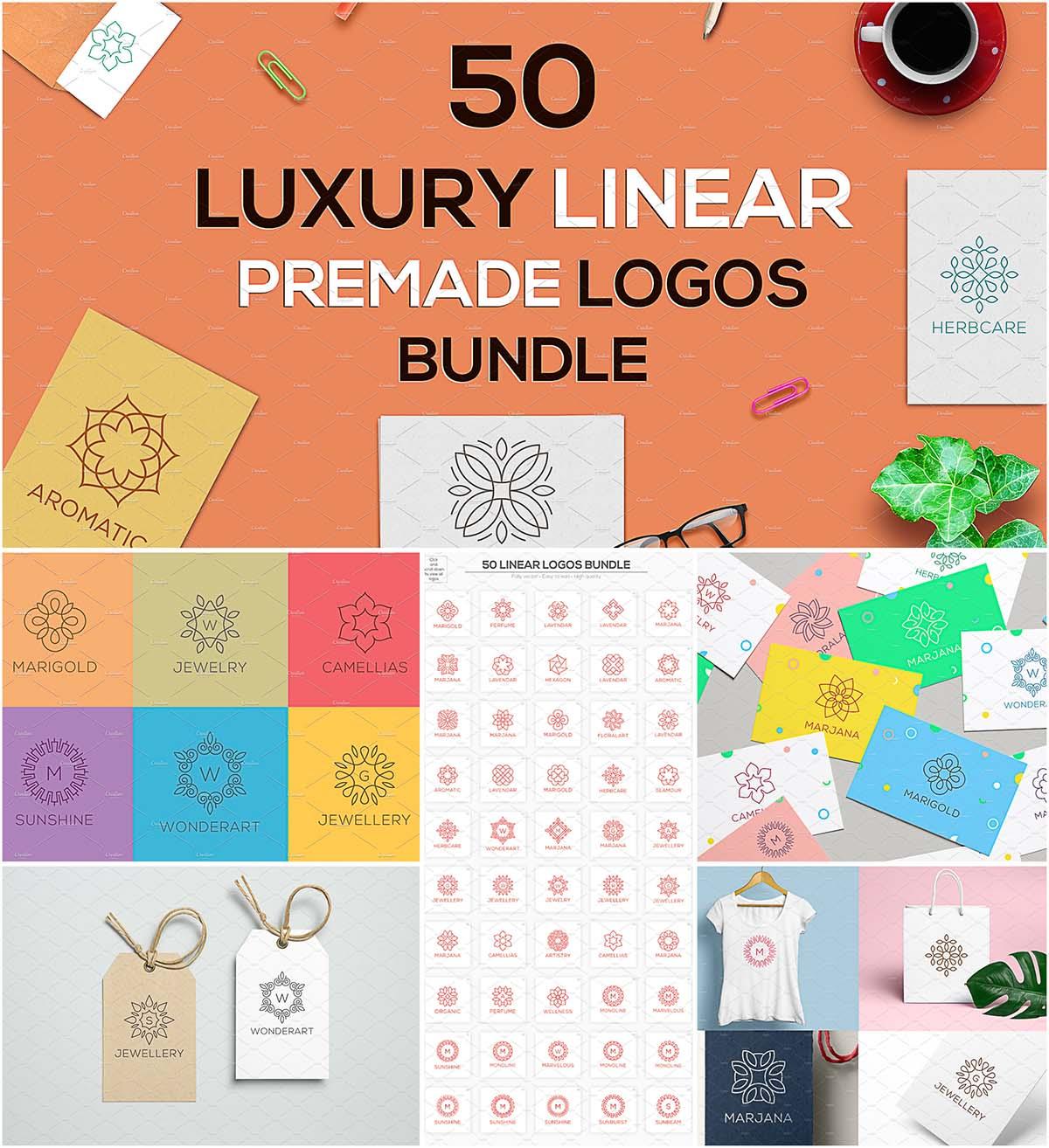 Luxury linear premade logos