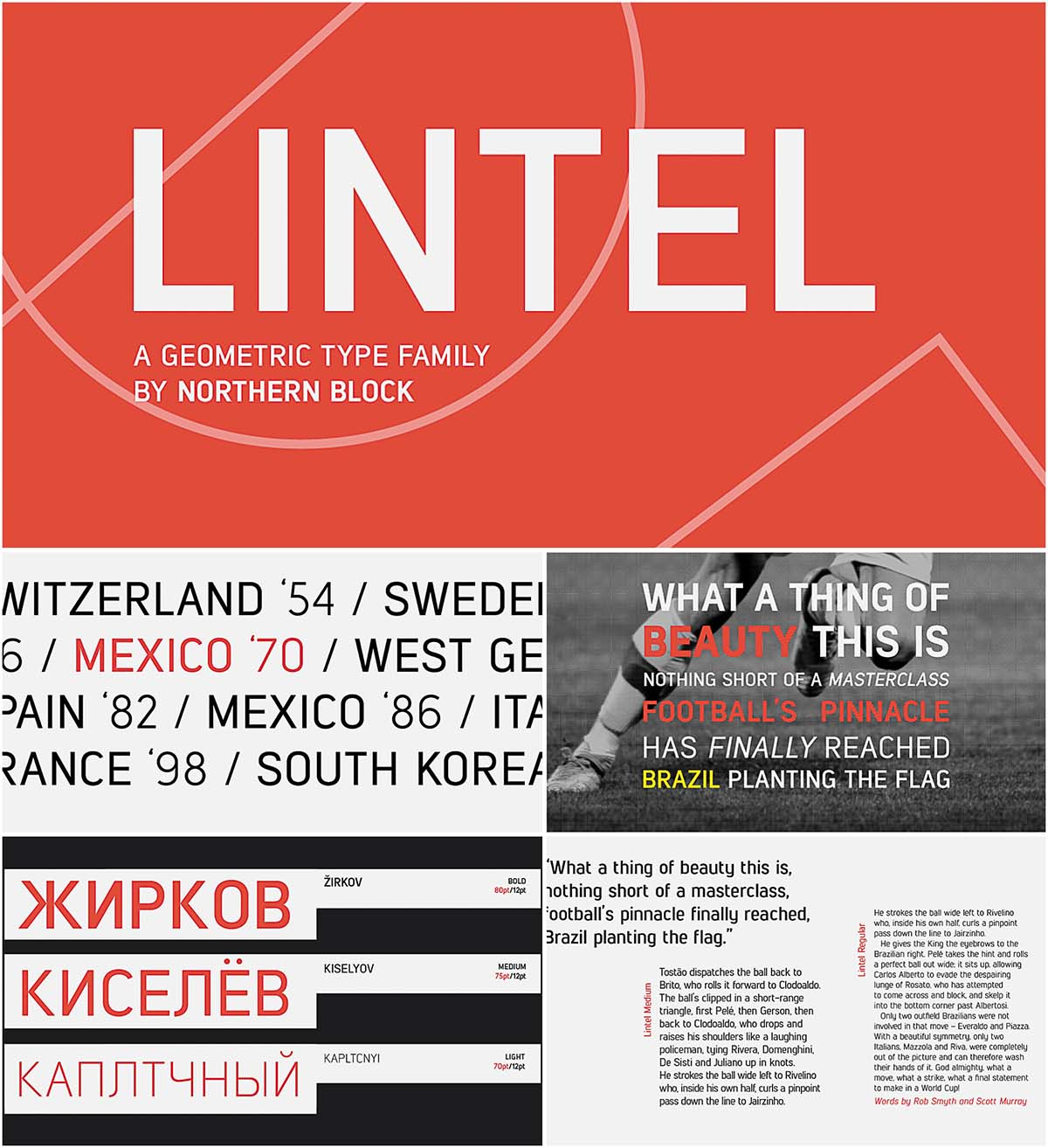 Lintel font family with cyrillic typeface
