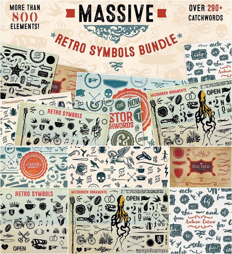 Massive retro symbols and catchwords bundle