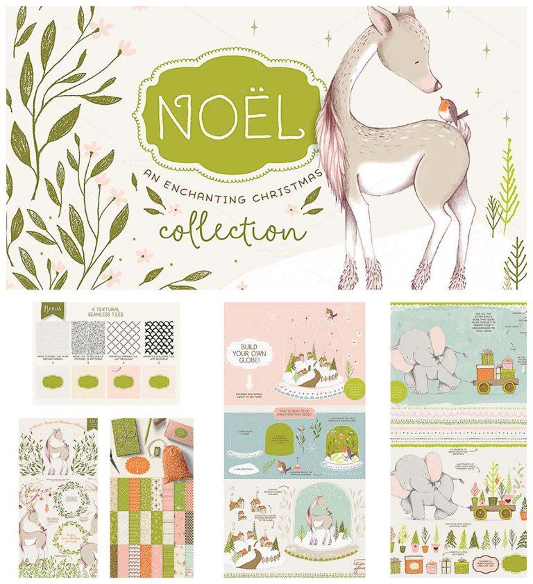 Noel Christmas illustration bundle